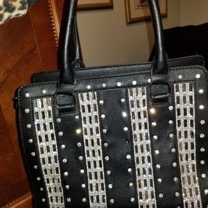 Handbags - Leather and crystal stud purse